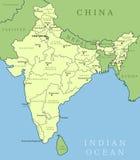 Mapa da Índia Imagem de Stock Royalty Free