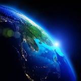 Mapa da noite do planeta ilustração royalty free