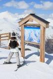Mapa da pista do esqui Fotografia de Stock