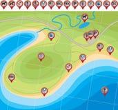 Mapa da praia Fotografia de Stock