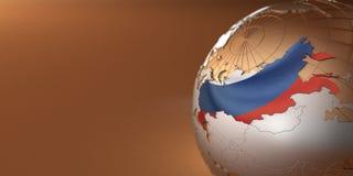 Mapa da Rússia na terra Fotografia de Stock Royalty Free