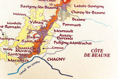 Mapa da região de Borgonha Fotos de Stock