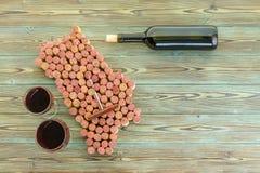 Mapa da região do vinho de Napa Valley de cortiça do vinho foto de stock