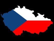 Mapa da república checa e da bandeira Imagens de Stock