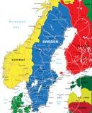 Mapa da Suécia Fotos de Stock