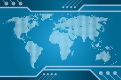 Mapa da tecnologia do mundo Imagens de Stock Royalty Free