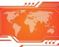 Mapa da tecnologia do mundo Imagens de Stock