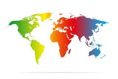 Mapa da terra da cor com ilustração colorida da sombra Imagem de Stock Royalty Free