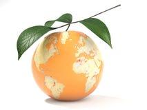 Mapa da terra feito em uma laranja descascada Fotografia de Stock Royalty Free