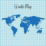 Mapa da terra na ilustração azul quadriculado do fundo Fotos de Stock Royalty Free