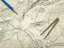 Mapa da topografia com lápis Imagens de Stock