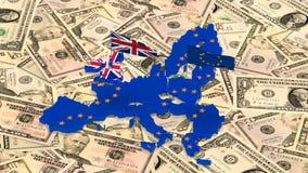 Mapa da União Europeia e do Reino Unido com as bandeiras do estado no fundo de dólares americanos video estoque