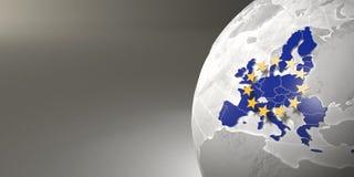 Mapa da União Europeia na terra Imagens de Stock