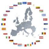 Mapa da União Europeia com as bandeiras no círculo Imagens de Stock Royalty Free