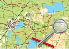 Mapa da viagem nas florestas. Fotografia de Stock Royalty Free