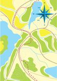 Mapa da viagem nas florestas. Foto de Stock Royalty Free