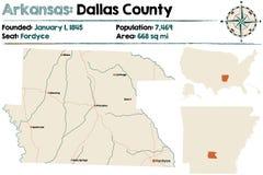 Mapa Dallas okręg administracyjny, Arkansas Zdjęcia Royalty Free