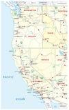 Mapa das estradas, o político e o administrativo do Estados Unidos da América ocidental com parques nacionais ilustração do vetor