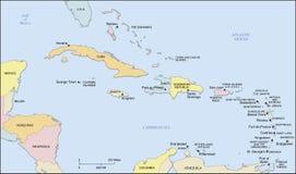 Mapa das ilhas das Caraíbas Fotos de Stock