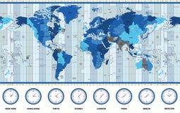 Mapa das zonas de horas padrão do mundo em cores azuis Imagens de Stock Royalty Free