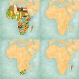 Mapa de África - bandeiras de todos os países, mapa vazio, África do Sul e Madagáscar Fotos de Stock Royalty Free