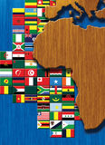 Mapa de África com bandeiras Fotografia de Stock