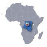 Mapa de África com a república Democrática Congo Fotos de Stock Royalty Free