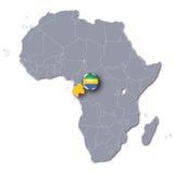Mapa de África con Gabón Imagenes de archivo