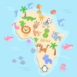 Mapa de África con los animales para los niños libre illustration