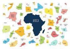 Mapa de África con los países separados libre illustration