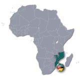 Mapa de África con Mozambique ilustración del vector