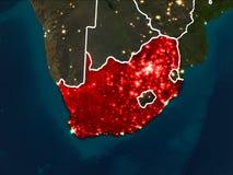 Mapa de África do Sul na noite Imagem de Stock