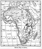 Mapa de África de uma enciclopédia Britannica do livro do vintage por A fotografia de stock royalty free