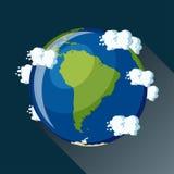 Mapa de Ámérica do Sul na terra do planeta, vista do espaço Fotos de Stock Royalty Free