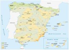 Mapa de áreas mojadas y secas en España ilustración del vector