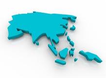 Mapa de Ásia - azul Fotos de Stock