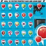 Mapa de Ásia e ícones set1 do ponteiro das bandeiras Imagem de Stock