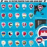 Mapa de Ásia e ícones set2 do ponteiro das bandeiras Imagem de Stock Royalty Free