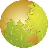 Mapa de Ásia no globo Fotografia de Stock Royalty Free