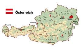 Mapa de Áustria Fotografia de Stock