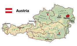 Mapa de Áustria Fotos de Stock