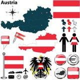 Mapa de Áustria Fotografia de Stock Royalty Free