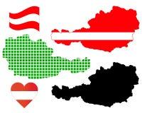 Mapa de Áustria Imagem de Stock