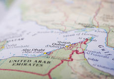 Mapa de Abu Dhabi e de Dubai Fotos de Stock Royalty Free