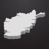 Mapa de Afeganistão no cinza em um fundo preto 3d ilustração stock