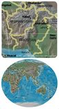 Mapa de Afganistán Paquistán y de Asia Oceanía Imagenes de archivo