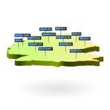 Mapa de Alemanha 3d com cidades Fotografia de Stock