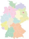 Mapa de Alemanha - estados federais e regiões Ilustração do Vetor