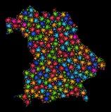 Mapa de Alemania del mosaico de las hojas brillantes del cáñamo stock de ilustración