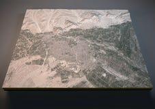 Mapa de Aleppo, Síria, vista satélite Imagens de Stock